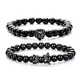 Joya Gift Black 8mm Round Beads Bracelet Set for Men Crown Tiger Head Charm Handmade Jewelry (Color: Black)