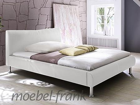 Polsterbett Kunst-Lederbett Weiß Doppelbett Bettgestell Riana, Größe:160x200 cm