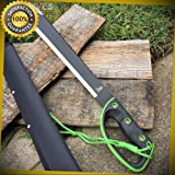25'' GRN/BLK Ninja Sawback Machete Fighting Hunting Sword with sheath 1334-GN for Hunting Camping Cosplay