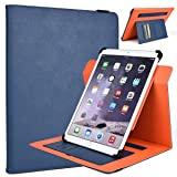 Kroo Samsung Galaxy Note Pro 12.2, Galaxy Tab Pro 12.2, Rotating 2016 Tablet Cases | Ink Blue/Orange Portrait or Landscape Orientation 360 Stand Cover (Color: Ink Blue/Orange)
