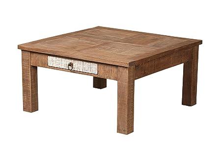 The Wood Times Couchtisch Massiv Vintage Look New Rustic Mangoholz, FSC-Zertifiziert, LxBxH 50x50x50 cm