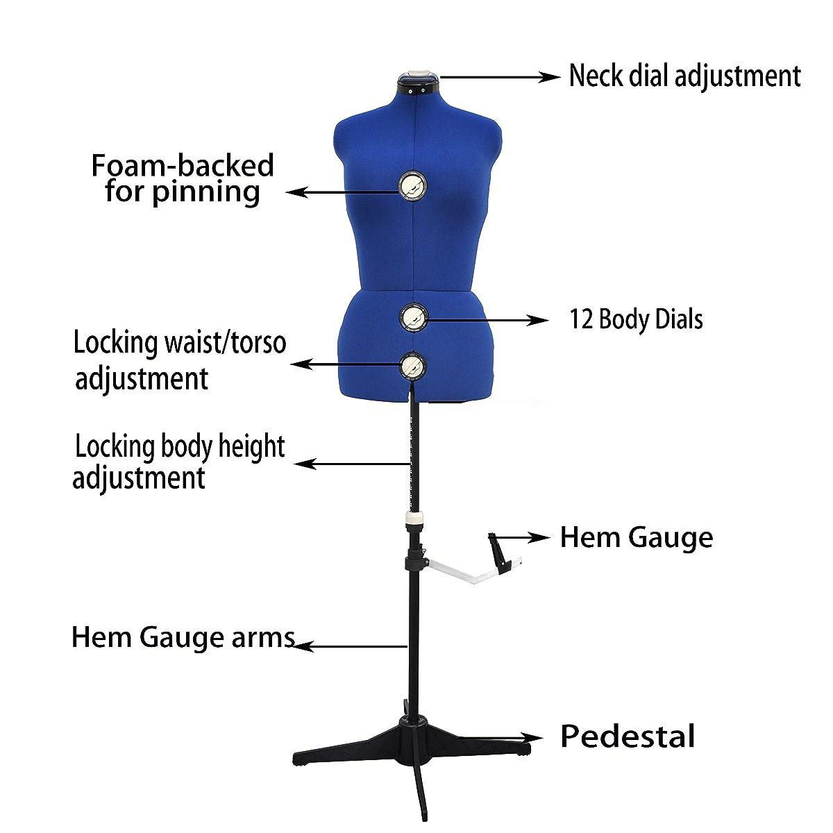 13 Dials Adjustable Dress Form, Large