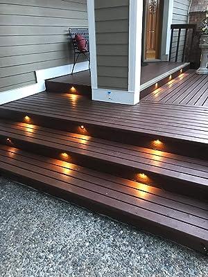 FVTLED 30pcs Low Voltage LED Deck Lights kit F1.38 Outdoor Garden Yard Decoration Lamp Recessed Landscape Pathway Step Stair Warm White LED Lighting, Bronze (Color: Warm White, Tamaño: 30pcs)