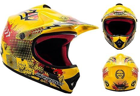 ARROW AKC-49 yellow - jaune casque motocross KIDS moto pour enfants Taille: XS S M L XL