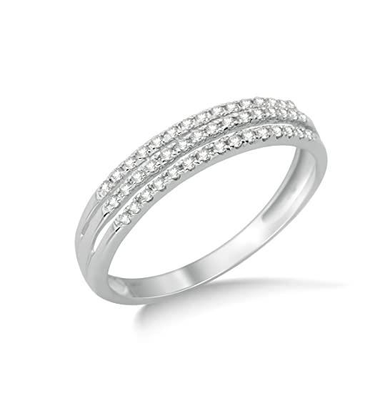 Miore 9ct White Gold 0.18ct Triple Row Diamond Half Eternity Ring SA949R