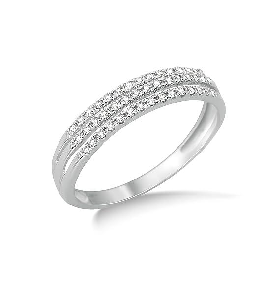 Miore 9ct White Gold 0.18ct Triple Row Diamond Half Eternity Ring SA949R