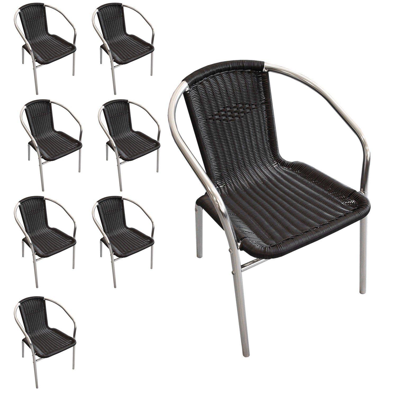 8 Stück Aluminium Stapelstuhl Polyrattan – Bespannung Campingstuhl Gartenstuhl Bistrostuhl Gartenmöbel – Schwarz / Silber bestellen
