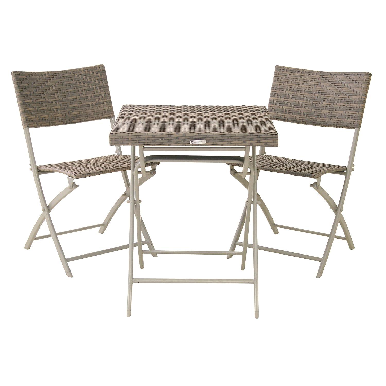 Balkonserie Mirador grau 3-teilig, Set bestehend aus: 2 x Klappstuhl und 1 x Klapptisch jetzt bestellen