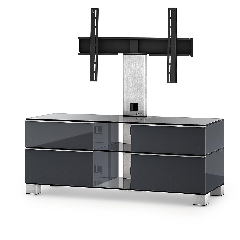 Sonorous MD 8220-C-INX-GRP Fernseher-Möbel mit Klarglas (Aluminium Inox, Korpus Hochglanzdekor) graphit