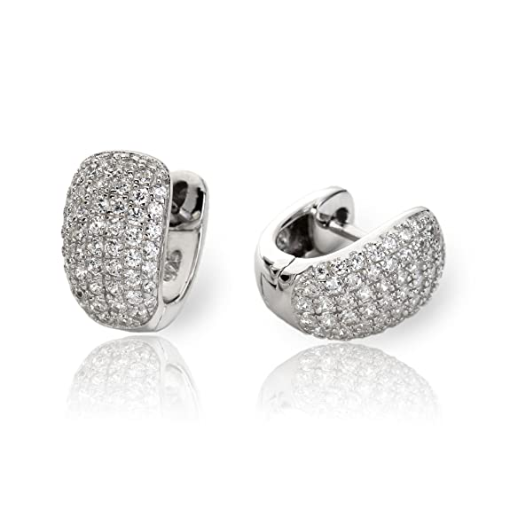 Eye Candy ECJ-CR0023 Women's Hoop Earrings 925 Sterling Silver Rhodium Plated With 48 White Cubic Zirconia Stones 12 mm