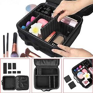 Makeup Travel Case, with DIY Adjustable Divider Cosmetic Train Bag 10.3 Organizer Perfect Set Contain 14pcs Premium Makeup Brushes 3 pcs Makeup Sponge Transparent Travel Bag Makeup Brush Cleaner (Color: Black)