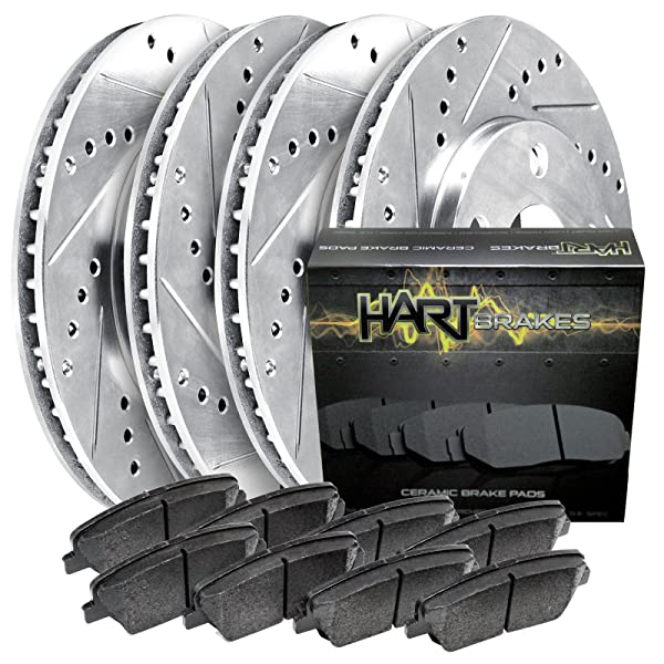 Front Rear Discs Brake Rotors and Ceramic Pads For Ford Escape 2013-2016 Slot
