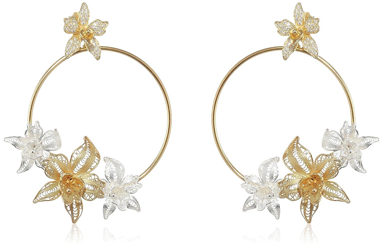 Misis Damen-Ohrringe Marisol 925, Silber, Vergoldet, Zirkonia weiß 7 cm – OR08619 günstig kaufen