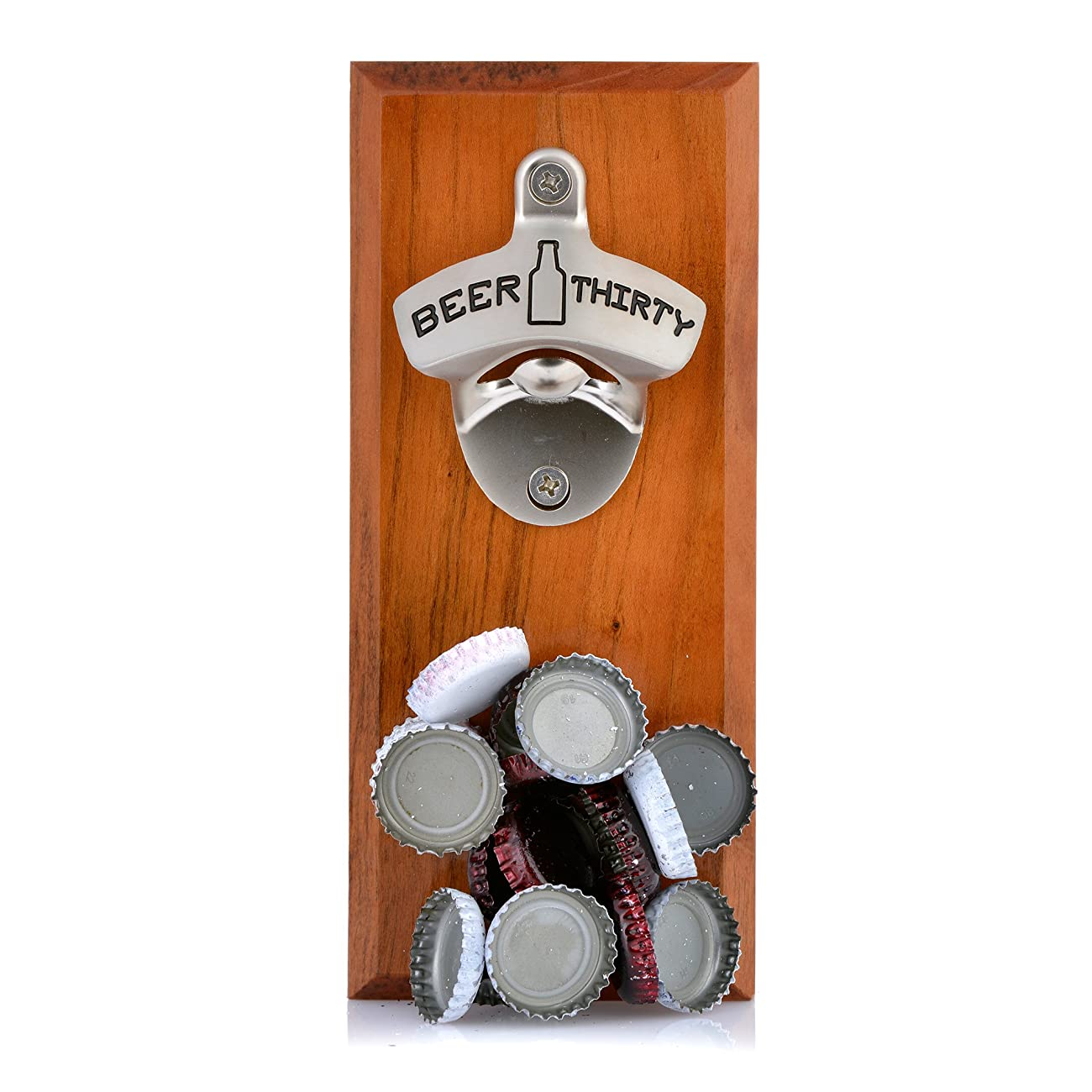 Barware Gear Bottle Opener & Magnetic Cap Catcher. Cherry Wood. (Beer Thirty) 0