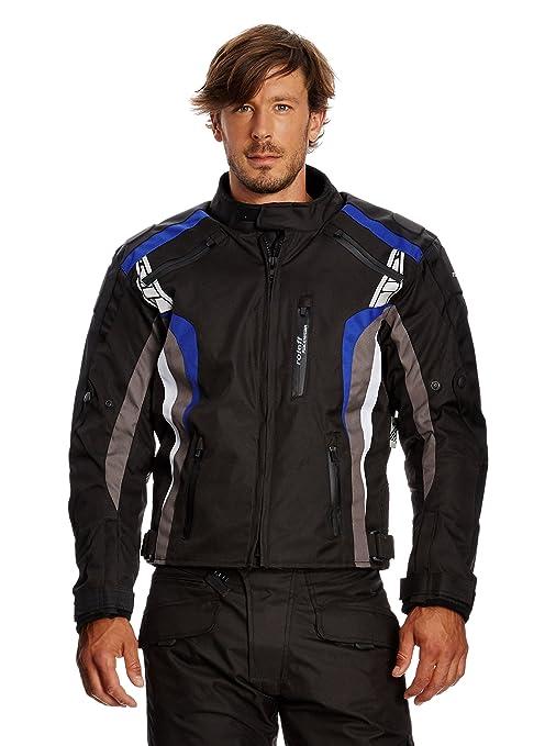 Roleff Racewear 5134 Blouson Moto Lucerne, Noir/Bleu, L