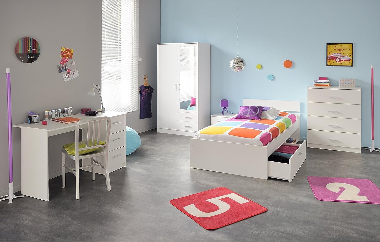 Jugendzimmer mit Bett 90 x 200 cm weiss