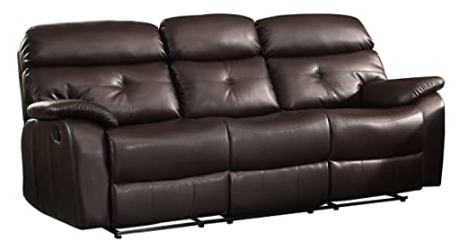Homelegance 8539-3 Double Reclining Sofa with Fold-Down Center Console, Bonded Leather Match, Dark Brown
