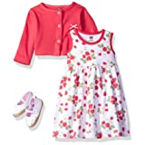 Hudson Baby Baby Girls' 3 Piece Dress, Cardigan, Shoe Set, Strawberries, 0-3 Months (3M) (Color: Strawberries, Tamaño: 0-3 Months (3M))