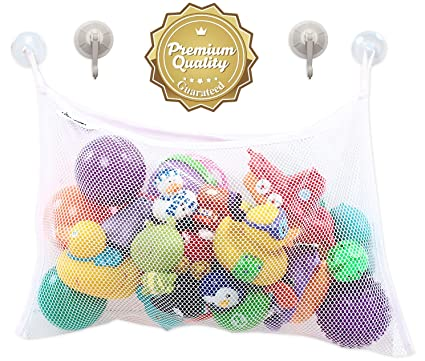 Bath Toy Organizer for Baby Boys and Girls with 2 Extra Strong Suction Cups - Storage Basket Strongly Suctions