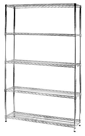 Archimede Sistema Componibile Scaffale Cinque Ripiani, Metallo, Cromato, 121 x 36.0 x 200 cm