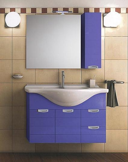 Mistermoby Mobile Bagno Sospeso con Lavabo Specchiera a Led e Pensile Colore Lilla Consolle con Ante e Cassetti da 85 Centimetri