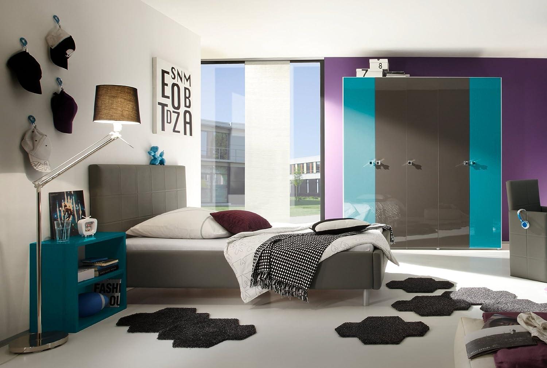 Jugendzimmer mit Bett 140 x 200 cm anthrazit/ türkis günstig kaufen