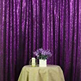 PartyDelight 4ftX7ft Purple Sequin Backdrop Curtain Photo Booth for Wedding Party Birthday Decoration. (Color: Purple, Tamaño: 4FTx7FT)