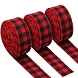 3 Rolls Red and Black Buffalo Plaid Ribbon Christmas Wired Edge Ribbon Check Burlap Ribbon for Gift Wrapping, Crafts Decoration (1.34 by 315 Inches) (Tamaño: 1.34 by 315 Inches)