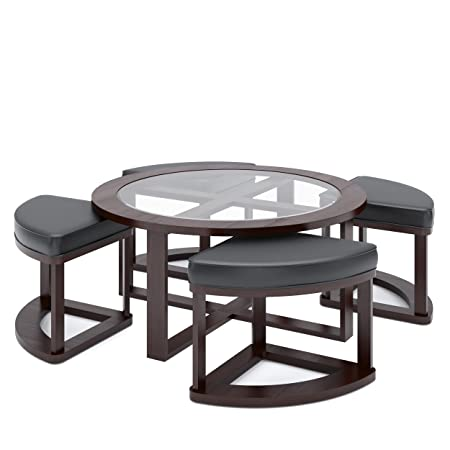 CorLiving LBG-599-K Belgrove Stained Coffee Table with 4 Stools, Dark Espresso