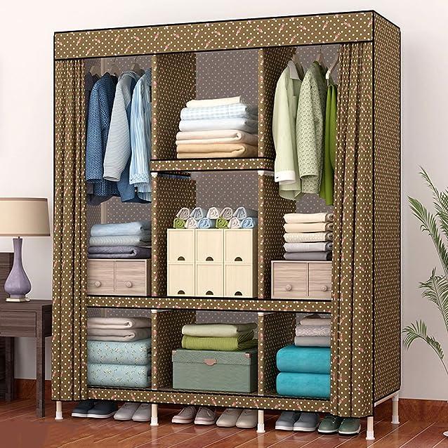 """Grande armadio singolo armadio in legno massello grande pieghevole in legno grande affitto camera da letto in tessuto semplice combinazione di assemblaggio, 66 * 51 """"(168 * 130 cm), E"""