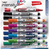 BIC Intensity Advanced Dry Erase Marker, Fine Bullet Tip, Assorted Colors, 12-Count (Color: Assorted, Tamaño: 1 Pack)