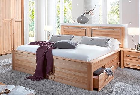 SAM® Holzbett Anna mit Bettkästen, 180 x 200 cm, Bett mit verspieltem Kopfteil, naturliche Maserung, massive widerstandsfähige Oberfläche in zeitlosem Naturton