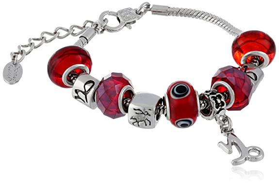 Capricorn Murano Style Glass Beads and Charm Bracelet