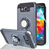 Galaxy Grand Prime Case, Galaxy J2 Prime Case with HD Screen Protector,Ymhxcy 360 Degree Rotating Ring & Bracket Rubber Dual Layer Shock Bumper Resistant Back Cover forSamsung G530H-ZH Metal Slate (Color: ZH-Metal Slate)