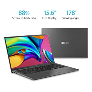 ASUS VivoBook 15 Thin and Light Laptop, 15.6 Full HD, F512DA-EB51, Slate Gray with Logitech M510 Wireless Computer Mouse Dark Gray - Bundle
