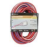 Southwire 2549SWUSA1 100-Feet, Contractor Grade, 12/3 Extension Cord, With Lighted End; Red White And Blue, American Made Extension Cord, Indoor and Outdoor Use, Water Resistant Flexible Jacket (Color: Red, White, Blue, Tamaño: 100)