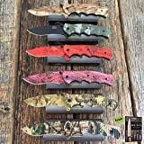 6PC Dealers Lot Assorted CAMO TACTICAL Spring Assisted Open Pocket Knife Carbon Sharp Blade Combat + Free eBook By SURVIVAL STEEL