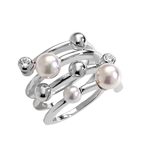 Majorica Ring 10554.01.2.917.700.1 in Rhodium Plated Sterling Silver 925 – 4/6 mm Round White Pearl and Cubic Zirconia