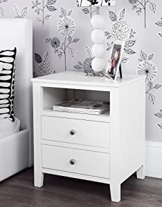 Brooklyn White Bedside Table with 2 drawers and shelf, metal runners, dovetail joints, ASSEMBLED       reviews and more information