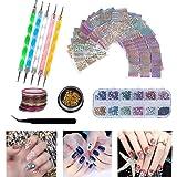 Hakkin 62 Pcs Nail Art Professional Kit Tools for Girl, Set Include: 12 Colors Nail Rhinestones, 30 Pcs Tape Line, 24 Pcs Vinyls Nail Stencil Sticker Sheets Set & 5 Pcs Rhinestones Decorations Dotting