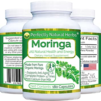 180 Capsules, 3 Month Supply of Natures Best All Natural Appetite Suppressant, 100% Pure Moringa Oleifera Leaf Powder, 500 mg per Capsule *Rich In Zeatin*