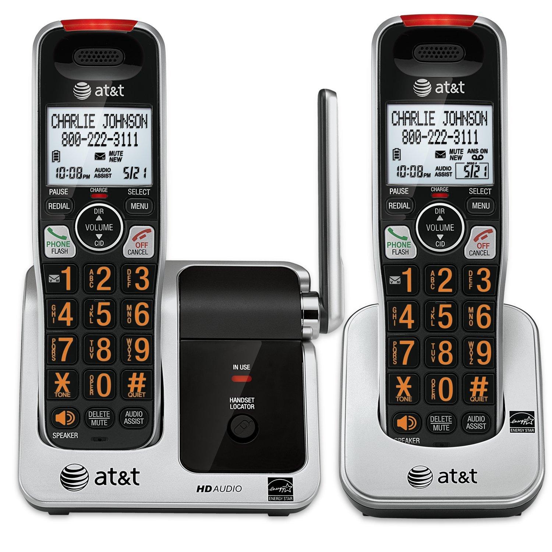 Telefonos-fijos AT&T, AT y T CRL81212 DECT 6.0 teléfono con identificador de llamadas/llamada en espera, 2 auriculares inalámbricos, negro/plata  en Veo y Compro