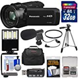 Panasonic HC-V800 Wi-Fi Full HD Video Camera Camcorder with 32GB Card + Case + Tripod + Reader + LED Video Light + Microphone + Filter + Kit (Color: Black, Tamaño: 32GB Kit)