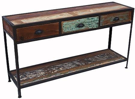 Vintage Sideboard mit 3 Schubladen, aus Metall und Recyclingholz / Kommoden, Sideboards & Fernsehtische