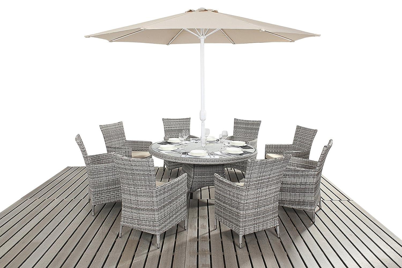 Dallas rustikal Gartenmöbel für 8 Personen, rund, Esstisch mit Stühlen