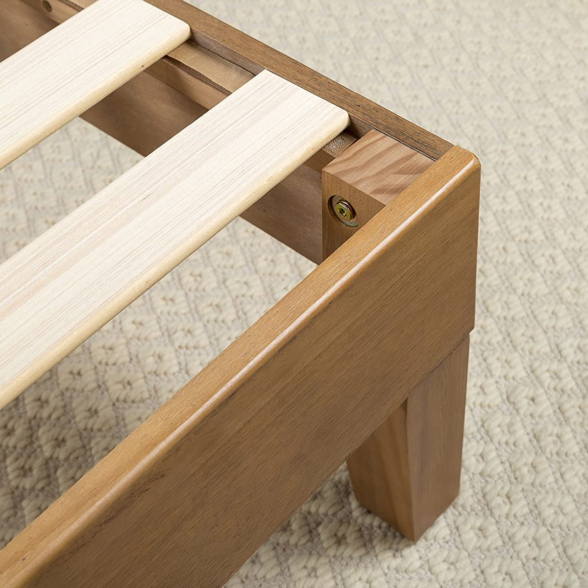 Zinus 12 Inch Deluxe Wood Platform Bed/No Boxspring Needed/Wood Slat Support/Rustic Pine Finish, Queen