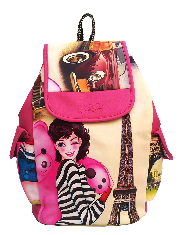 School bags online cash on delivery - Alice Pu Leather Casual School Bag College Bag Shoulder Women Girls Bag With Girl Print Backpack Handbag Bkp45