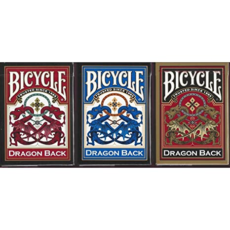 Bicycle Dragon Back Playing Cards 3 Deck Set 1 Gold, 1 Blue & 1 Red Deck review ,features and price