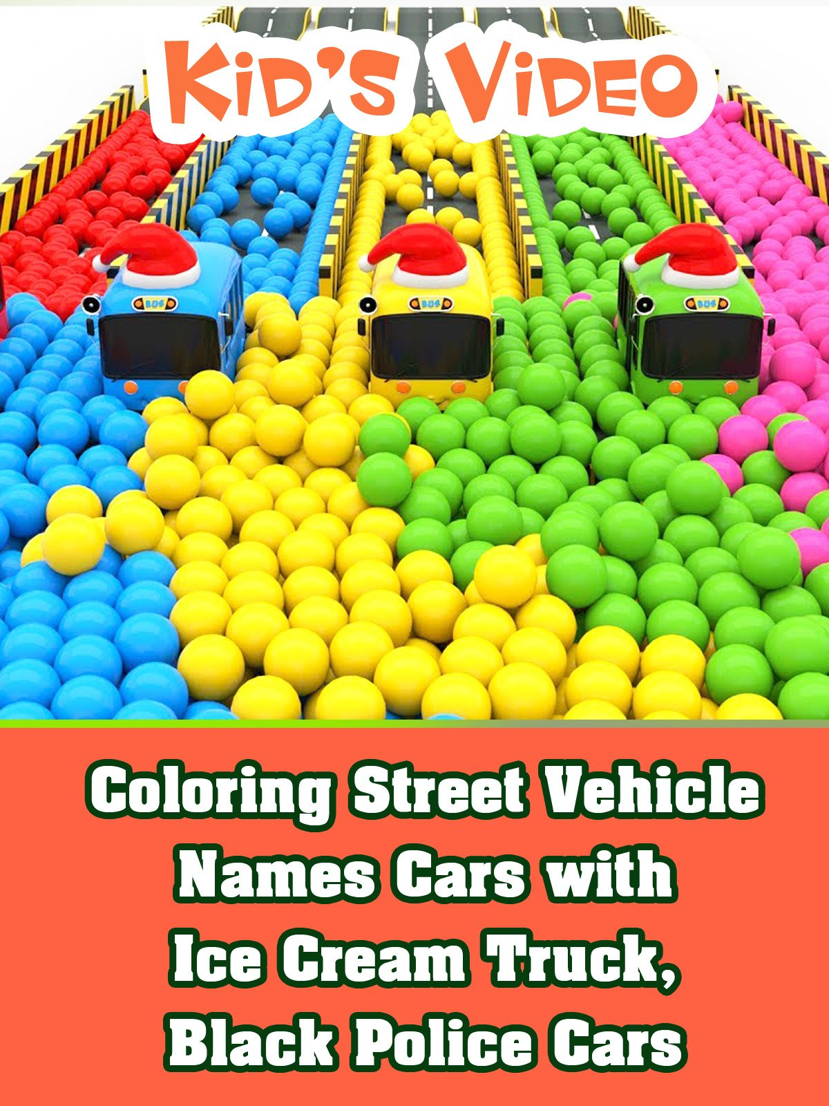 Coloring Street Vehicle Names Cars with Ice Cream Truck, Black Police Cars