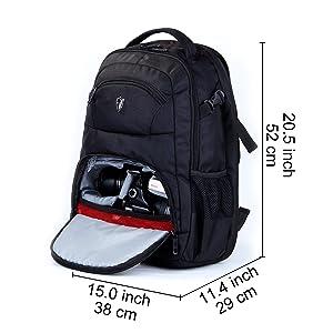 Victoriatourist DSLR Camera Backpack with Laptop Bag Waterproof Rain Cover Fits Most Laptops, 15.6, Black (Color: black)